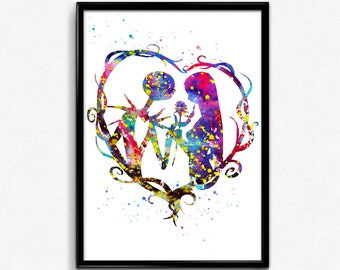 The Nightmare Before Christmas inspired, Jack and Sally, Colorful Watercolor, Poster, gift, Print, Wall Art (417)