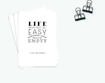 """Postcard """"Easy"""" (Set of 3) typography quote black and white Lise Meitner inspirational motivation lettering simplistic Lise Meitner Science"""