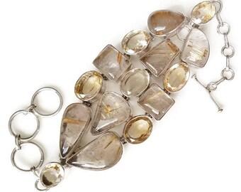 Golden Rutilated Quartz and Citrine Sterling Silver Bracelet