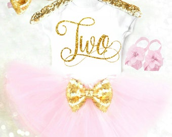 Toddler 2nd Birthday Outfit Girl 2nd Birthday Shirt Two Birthday Shirt 2 Birthday Outfit Pink and Gold Birthday Outfit Two Shirt ANY AGE 16