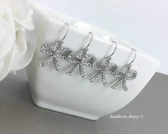 Tie the Knot Earrings Bow Tie Earrings Bridal Gift Bridal Earrings Tie The Knot Ribbon Earrings Bridal Jewelry