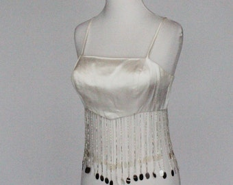 70s White Satin Crop Top / Midriff Top / Dangling Beads and Sequins / Go Go Top / XSmall to Small