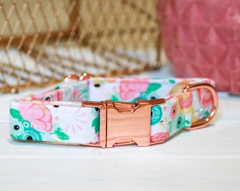 Rose Gold Garden Dog Collar, girl dog collar, dog collars, pink dog collar, girl dog collas, dog collars, rose gold dog collar, rose gold