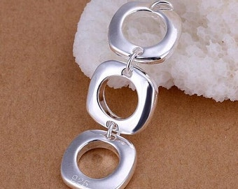 925 sterling silver Triple square pendant