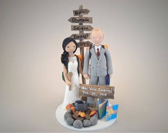 Bride & Groom Customized Outdoor/Hiking Theme Wedding Cake Topper