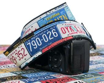 dSLR Camera Strap, License Plates, Auto, Mens camera strap, Canon, Nikon, SLR, Mirrorless, 167 w