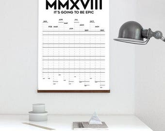 2018 Calendar with simple design Black and White Calendar 2018 calendar BW wall art big Calendar 2018 design simple Black and White calendar