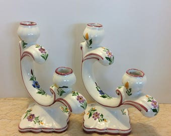 Vintage Pair Portugal Handpainted Floral Chic Candleholders , Candelabra,  Set of 2 Ceramic Candleholders, Shabby Chic Decor