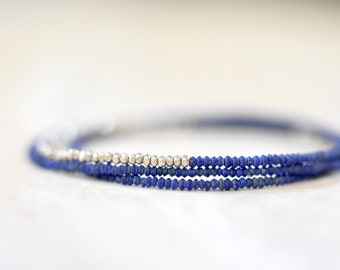 ultra tiny lapis lazuli beaded necklace with Thai silver. string lapis choker. lapis lazuli and sterling silver choker
