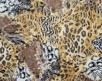 Tan and Brown and Black Muted Animal Print Pure Cotton Fabric from Timeless Treasures--One Yard