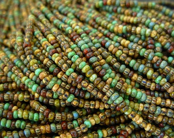 """Picasso Seed Beads, 10/0 Czech Seed Beads, Aged Picasso- Mosaic Striped Mix (2/20"""") #205"""