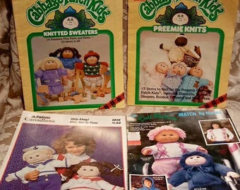 Lot of 4 Cabbage Patch Kids Knitting patterns Patons 1038 Match by Nomis Plaid 7866 7870