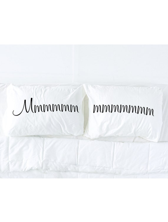 His and Hers Pillowcases, Mmmmm Imprinted Pillowcase Set, Couples Gift Pillow cases, Pillow Talk