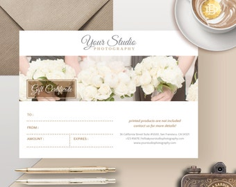 Photography Gift Card Template, Photoshop Gift Certificate Template for Photographer, Gift Card Design - INSTANT DOWNLOAD - GC003