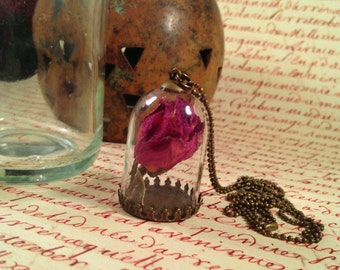 Real Rose Necklace: Pressed Dry Dried Flower Pendant, Plant Terrarium Jewelry, Glass Jar Dome Vial Globe, Preserved Red Rose, Moss Botanical