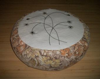 "Meditation Cushion. Zafu. Buckwheat Hulls. Machine stitched weeds design. O.O.A.K. 15"" dia. x 5""H. Sidewall Velcro Closure. Handmade USA"