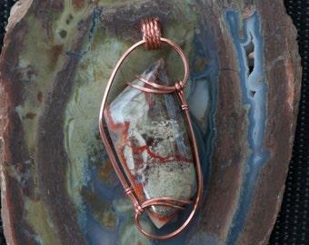 Earthy Spider Web Jasper Pendant, Copper Wire Wrapped Pendant, Wire Wrapped Stone Pendant, Stone Wire Wrap Pendant, Spiderweb Jasper