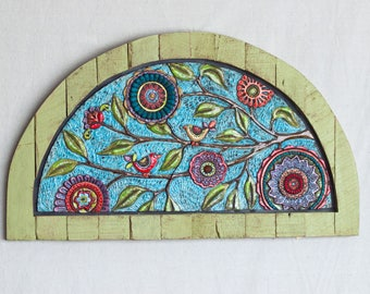 Mosaic Wall Art READY to SHIP Repurposed Vintage Unique Wall Art Colorful Flowers & Birds Reclaimed Wood Wall Art Garden Room Art Half Moon