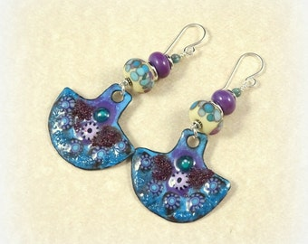 Blue and Purple Enamel Charm Earrings - Artisan Enamel Charms and Lampwork Beads - Blue Earrings, Purple Earrings, Statement Earrings
