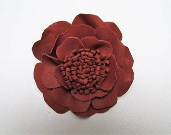 Brown corsage, brown leather flower, men's lapel pin, leather flower corsage, flower brooch, leather brooch, winter brooch, hat corsage, pin