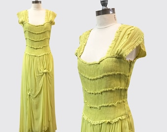 1940s Chartreuse Chiffon Gown