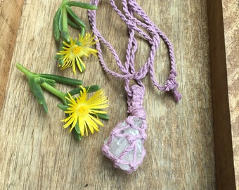 Lavender Quartz Macrame Necklace