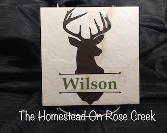 Deer Buck Head Silhouette Monogram Name Custom Tile