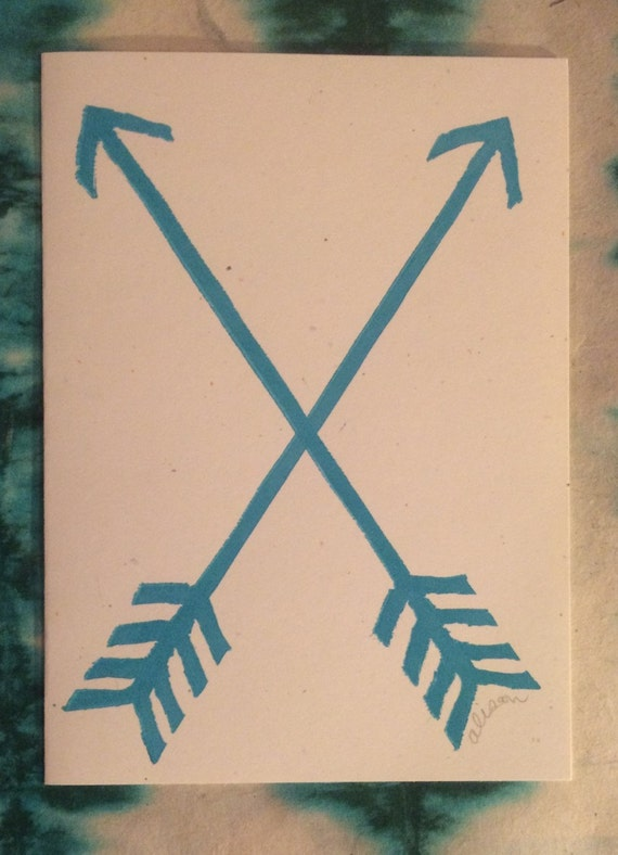 Double Arrow 5x7 linocut card