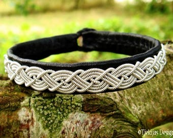 MIDGARD Sami Bracelet Cuff for real Vikings and Shieldmaidens Handmade in Black Leather decorated with Lapland Pewter Braid