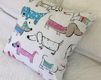 Sausage Dog Dachshund Cartoon- Cushion Cover on White Background 45 x 45 cm-fun colourful cartoon dogs kids dog lovers