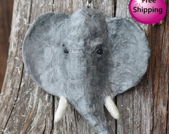 Paper Mache Elephant Head Necklace Pendant - Free Shipping
