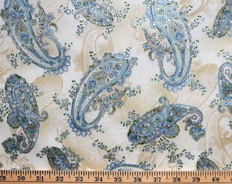 Paisley Floral La Scala With Metallic Robert Kaufman Fabrics #7116 By the Yard