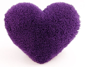 Curly Shag Purple Valentine Heart Shaped Decorative Toss Pillow - Small Size
