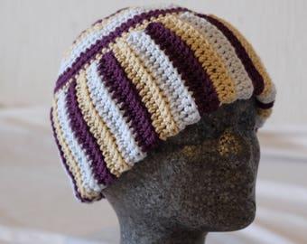 Crochet cap in Stripe look