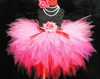 Hot Pink Red Tutu for Valentine's Day, Girls Tutu, Hearts Afire, Custom Sewn Tutu, Layered 3 Tiered Pixie Tutu and Headband Set