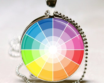 COLOR WHEEL Artist Gift Altered Art Glass Pendant Charm Necklace