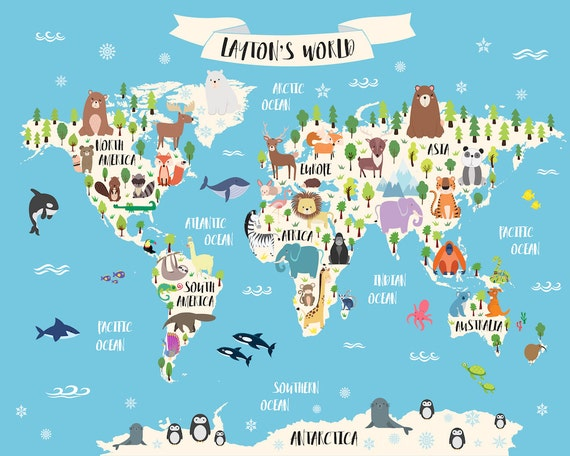 Animal world map print personalized baby gift kids world map animal world map print personalized baby gift kids world map poster custom map art animal nursery decor baby name art custom nursery map art gumiabroncs Choice Image