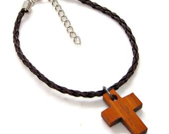 Bracelet Anklet Adjustable Teak Wood Cross Faux Braided Leather Religious Faith Christian 19 Colors