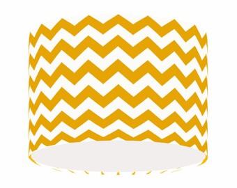 Mustard Yellow Chevron Stripy Light Shade, Contemporary, Fabric, Lighting,  Home Decor,