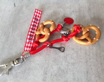 Bag charm gourmet pretzel polymer clay with ribbons in shades of Red
