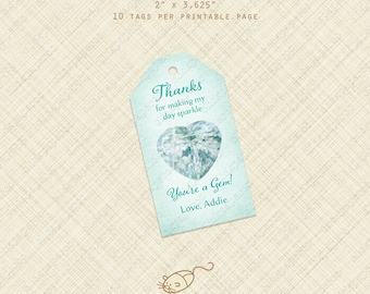 "Mint Green Heart Gem Favor Gift Tag Thank You Custom Text Printable Jewel tags ""you're a gem"" personalized digital treat bag custom shower"