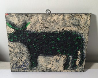 Outsider Art - Naive - Primitive - Art Brut - RONGO art - painting on cabinet Door - Heavily Textured - Camo Cow
