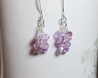 Violet Crystal Earrings, Purple Earrings, Cluster Earrings, Birthday Gift for Her, Mothers Day Gift, Dainty Earrings, Sister Gift, Christmas