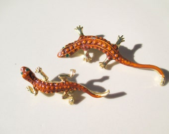 Pair of Lizard Pins Brooches Lizards Vintage Antique
