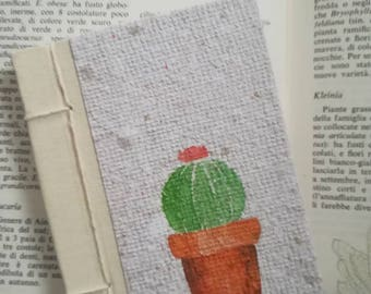 Garden journal, Bullet Journal, Notebook, diary in recycled paper A7, cactus