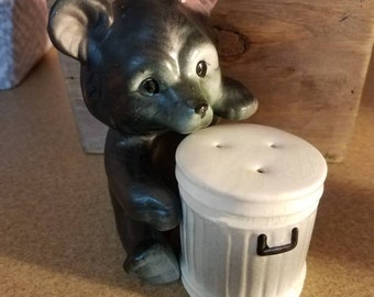 Vintage Bear and Trash Can Salt and Pepper Shaker Set