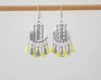 Dangling style ethnic yellow light, clear and silvery gray with tassels (BO202)