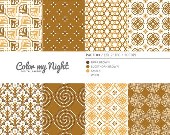 80% OFF SALE Digital Paper Brown 'Pack03' Scrapbook Papers Digital Backgrounds for Scrapbooking, Invitations, Decoupage, Crafts...