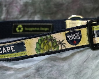 Adjustable Dog Collar from recycled Samuel Adams Hopscape Wheat Ale Beer Labels