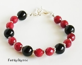 Bracelet red black gemstone bracelet jewelry beads Bracelet Bamboo Coral onyx Beads Beautiful Jewel Every occasion Faccetten